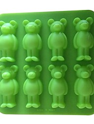 8 Loch Bärenform Kuchen Eis Gelee Schokoladenformen, Silikon 15 x 15 x 1,7 cm (6,0 x 6,0 x 0.7inch)
