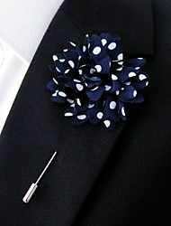 main polyester bleu fleurs de revers boutonnière pour hommes