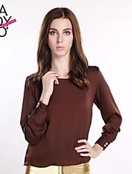 haoduoyi® Women's Solid Color Silk Cross V Cutout Chiffon Simple Blouse