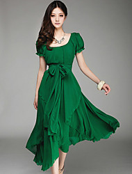 GZ&e tout le match robe de mousseline de couleur unie des femmes