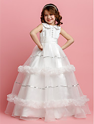 Ball Gown Floor-length Flower Girl Dress - Organza Satin Jewel with Buttons Sash / Ribbon Ruching Sequins