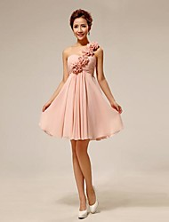 Chiffon Bridesmaid Dress - Pearl Pink Ball Gown One Shoulder
