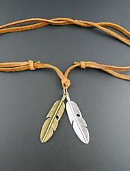 europeu colar de couro pena pandant (1pc) jóias