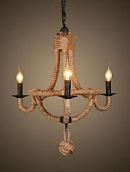 3 lampe rétro corde de chanvre lustre de style rétro des pays 220-240V