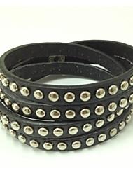 Gift Handmade Punk Bracelet Bling Rhinestone Wrap PU Leather Bracelets Bangle