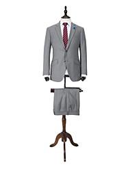 gris sólido traje ajuste a medida en lana 100%