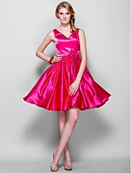 Knee-length Taffeta Bridesmaid Dress - Fuchsia A-line V-neck