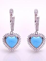 AS 925 Silver Jewelry  Azure jade stone sweet 9MM*9MM Earrings