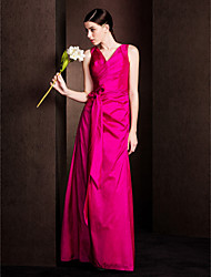 Floor-length Taffeta Bridesmaid Dress Sheath / Column V-neck Plus Size / Petite with Bow(s) / Criss Cross