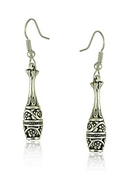 Tibetan Silver Bottle and Flower Design Drop Dangle Earrings