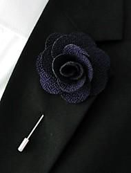 main noire polyester bleu fleurs de revers boutonnière pour hommes