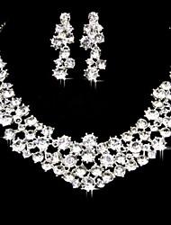 Bride Wedding Accessories Rhinestone Necklace Earrings(Set of 2)