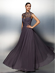 Homecoming Formal Evening Dress A-line High Neck Floor-length Chiffon