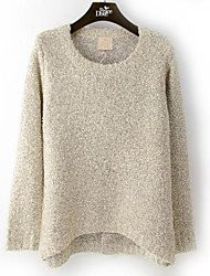 Women's Beige Cashmere , Casual Long Sleeve