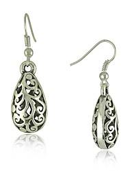 ethniques Vintage Silver tibétain chute de la sculpture boucles d'oreilles de bijoux vintage