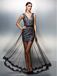 TS Couture Prom Formal Evening Dress - See Through Sheath / Column V-neck Floor-length Lace Tulle with Sash / Ribbon