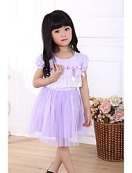 Ball Gown Flower Girl Dress - Cotton/Satin Chiffon Short Sleeve