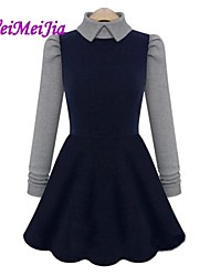 Women's Blue Dress , Casual/Cute Long Sleeve