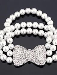 u7® мило узел лук жемчужный браслет из бисера прядь браслет полный кристалл инкрустированные прелести подарок для девочек