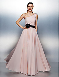TS Couture® Formal Evening Dress Plus Size / Petite A-line One Shoulder Floor-length Chiffon with Beading / Side Draping