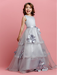 A-line Floor-length Flower Girl Dress - Organza / Satin Sleeveless Jewel with Buttons / Flower(s) / Sash / Ribbon