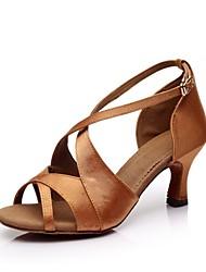 dom lisa sandalias de las mujeres personalizables latino satén zapatos de baile de la hebilla (más colores)