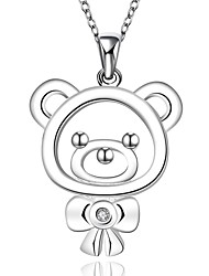 Lovely Fashion 925 Silver Bear Pendant with Necklace