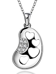 Fashion Pea Heart-shaped Mosaic 925 Silver Pendant with Necklace