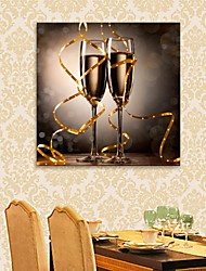 E-HOME® Stretched LED Canvas Print Art Champagne Glass Flash effect LED