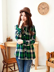Women's Casual Plaid Shirt Breastfeeding Nursing Maternity Hooded Top