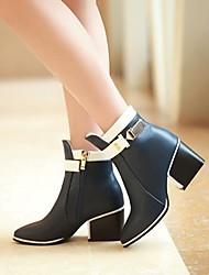 Zapatos de mujer - Tacón Robusto - Puntiagudos / Botas a la Moda - Botas - Casual - Cuero - Negro / Azul / Bermellón