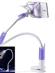 Desktop Seat Bed Bolt Clamp Mount Bracket with LED Light Lamp Multifunctional Mobilephone Stand Holder-Purple