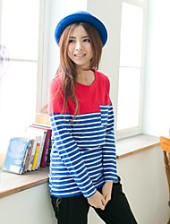 Women's Casual Striped Patchwork Breastfeeding T-shirt Nursing Maternity Top