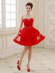 Cocktail Party Kleid - Rot Tülle - A-Linie/Princess-Stil - mini - Herz-Ausschnitt Übergröße