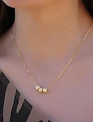 Women's Gold Tone Matte Beads Short Necklace