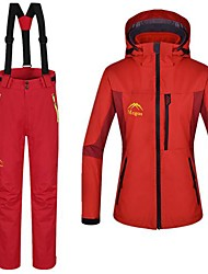 Women's 3 in 1 Red Polyester Thermal Windproof and Waterproof Skiing Suit