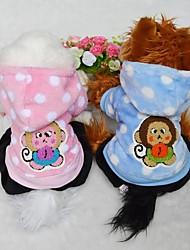 Hunde Mäntel / Pullover / Kapuzenshirts Blau / Rosa Hundekleidung Winter Gepunktet / Karton