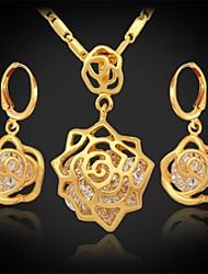 instyle aaa de luxe + zircone or 18 carats du platine plaqué femmes fleurs charme de collier pendentif boucles d'oreilles mis de haute qualité