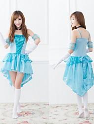 fantasía princesa cenicienta azul de poliéster de la mujer traje de halloween