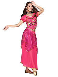 Belly Dance Dancewear Chiffon With Gold Coin Short Sleeve Performance Top for Women(More Colors)