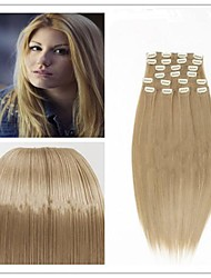 140g Straight Synthetic Hair Clip in Hair Extensions pieces 10pcs/set #16 Golden Blonde