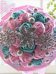 Fleurs de mariage Rond Roses Bouquets Mariage Polyester Dentelle Env.22cm