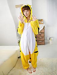 Kigurumi Pyjamas Tiger Gymnastikanzug/Einteiler Fest/Feiertage Tiernachtwäsche Halloween Weiß / Schwarz / Gelb Patchwork Polar-Fleece
