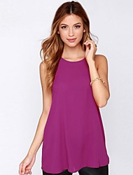 Women's Solid Pink Blouse , Round Neck Sleeveless