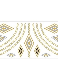 1Pc Gold And Silver Metallic Geometrical Pattern Necklace Bracelet Tattoo Sticker
