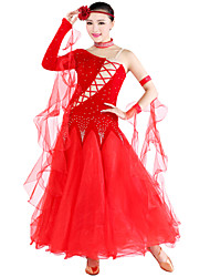 Ballroom Dance Outfits Women's Tulle / Velvet Black / Red / Royal Blue / Burgundy Modern Dance / Ballroom
