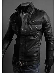 H2O Men's Casual Stand Long Sleeve Coats & Jackets (PU)