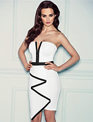 Women's Patchwork White Dress , Bodycon/Party Strapless/V Neck Sleeveless