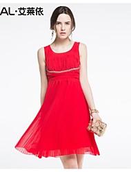 abito estivo vestito di un pezzo solido di colore sottile che borda elegante-vita alta di eral®women
