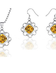 Z&X® European Style Silver Plated Yellow Crystal Flowes Necklace And Earrings Jewelry Set (1 set)